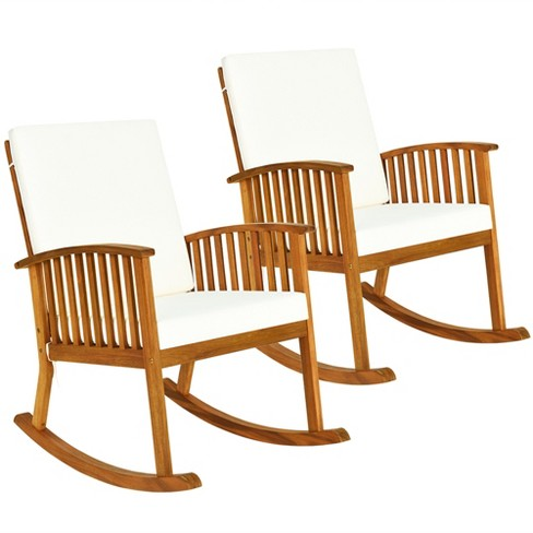 Costway 2pc Acacia Wood Rocking Chair, Outdoor Rocking Chair Cushions Target