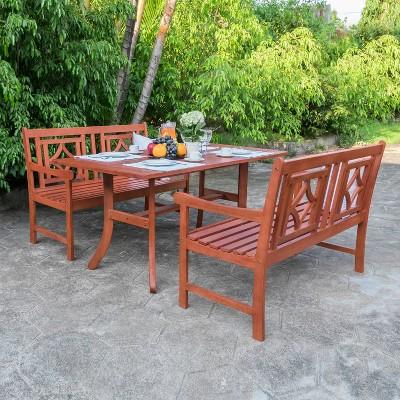 Malibu 3pc Wood Outdoor Patio Dining Set - Tan - Vifah