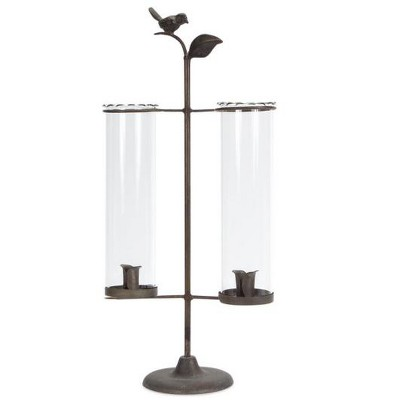 "Melrose 19"" Antique Double Taper Candle Holder with Bird and Leaf Accent"