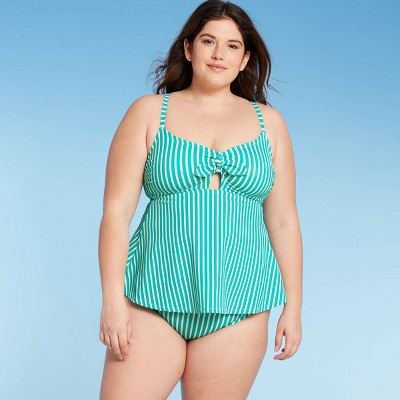 Women's Plus Size Tankini Top - Kona Sol™ Green Stripe