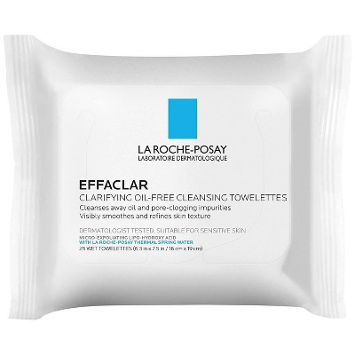 La Roche-Posay Effaclar Clarifying Oil-Free Cleansing Towelettes for Oily Skin Face Wipes - 25ct