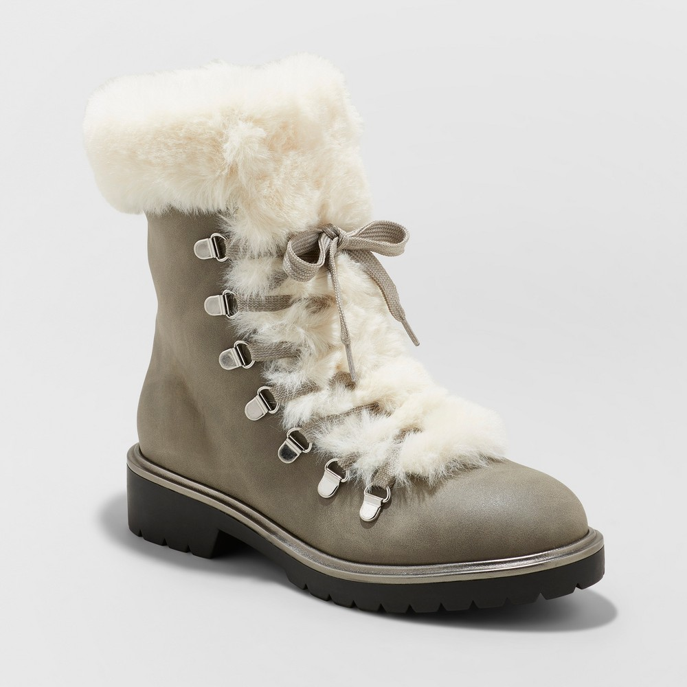 Women's Neveah Faux Fur Lace Up Boots - A New Day Gray 9.5