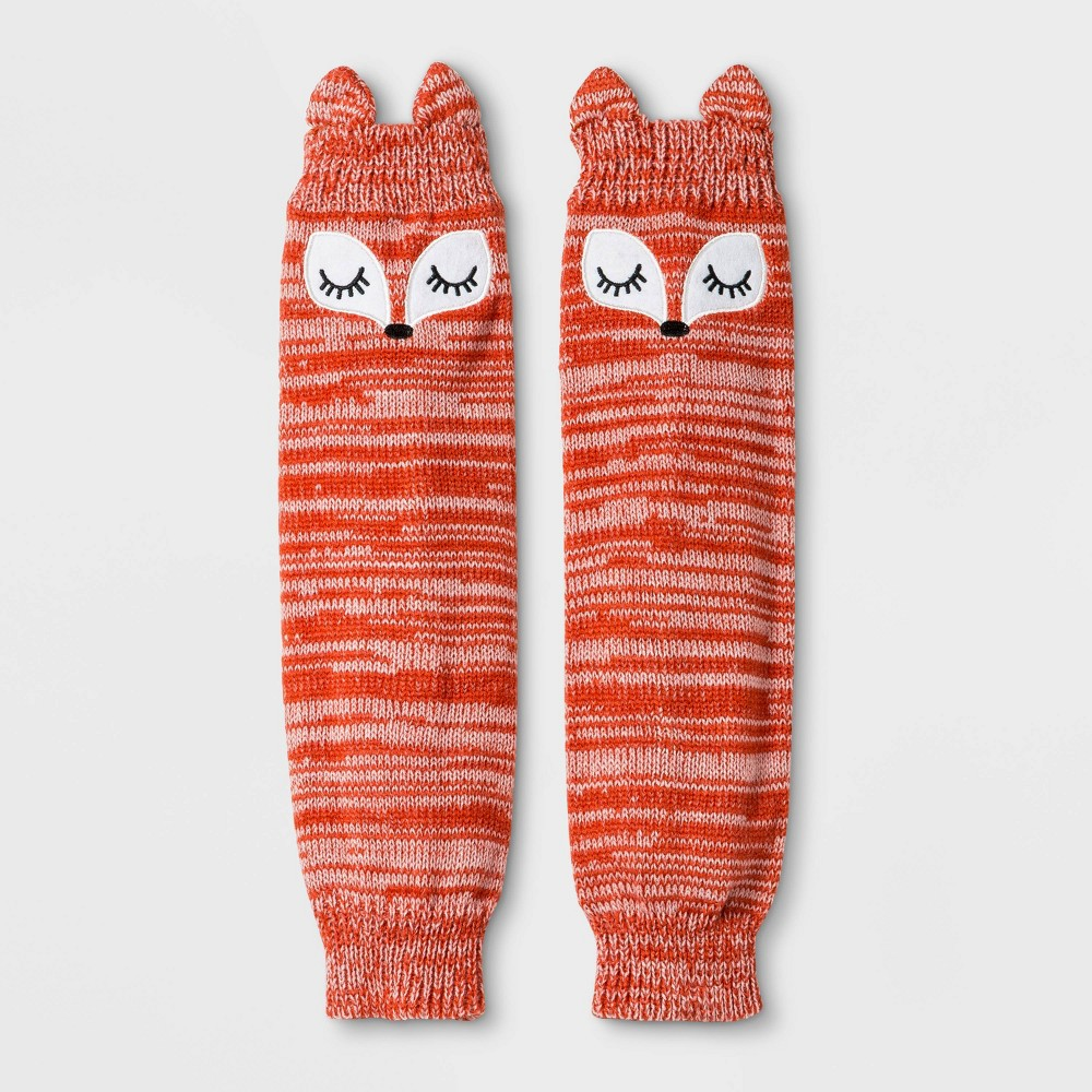 Image of Girls' Fox Print Marled Leg Warmers - Cat & Jack Orange One Size, Girl's, MultiColored
