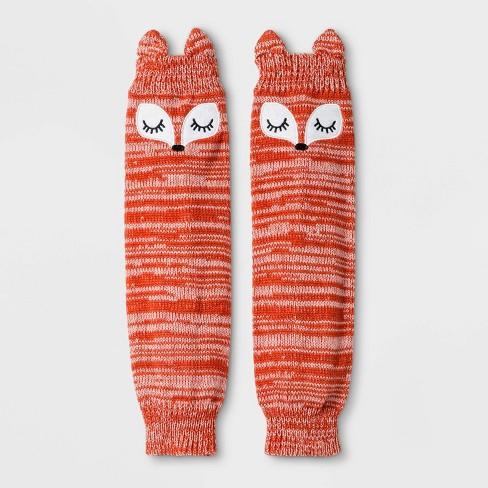 Girls' Fox Print Marled Leg Warmers - Cat & Jack™ Orange One Size - image 1 of 2