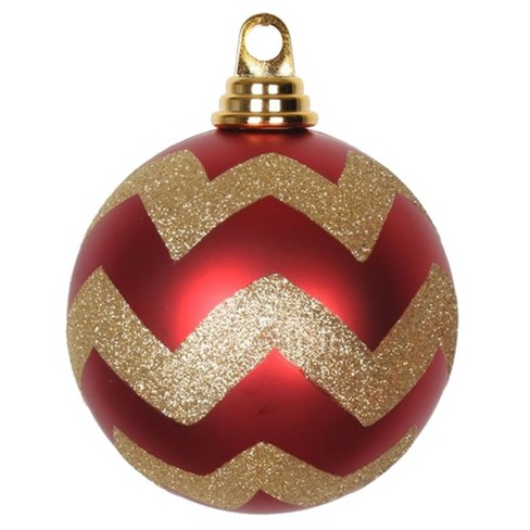 Vickerman 4 75 Red And Gold Matte Chevron Ball Christmas Ornament With Glitter Accents 3 Per Box Target