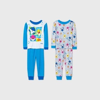 Baby Boys' 4pc Baby Shark Pajama Set - Blue 12M