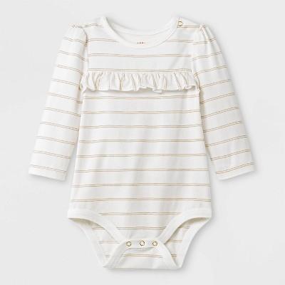 Baby Girls' Lurex Stripe Bodysuit - Cat & Jack™ Cream 3-6M
