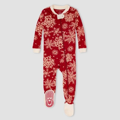 Burt's Bees Baby® Baby Snowflakes Organic Cotton Tight Fit Footed Pajama - Red/Ivory 0-3M