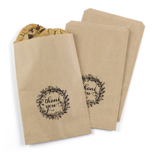25ct Rustic Wreath Treat Bags - Kraft - image 1 of 1