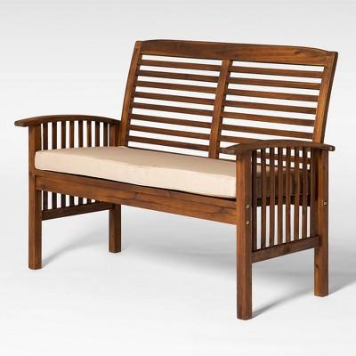 Ravenscroft Modern Boho Acacia Wood Slatted Outdoor Loveseat with Cushion - Dark Brown - Saracina Home