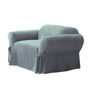 Soft Suede Chair Slipcover Smoke Blue - Sure Fit, Grey Blue