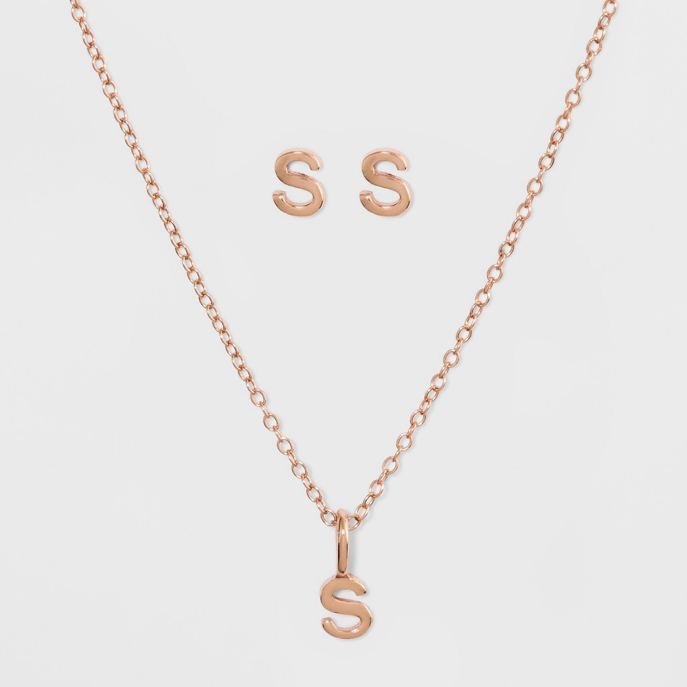 Sterling Silver Initial S Earrings and Necklace Set - A New Day Gold, Girl's, Size: Small, Gold - S