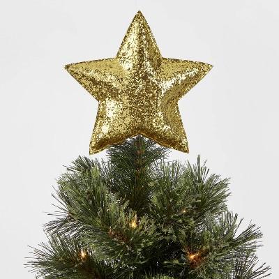 7.5in Unlit Glitter Fabric Star Tree Topper Gold - Wondershop™