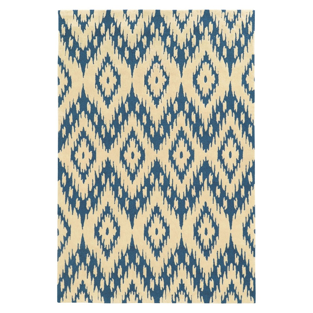 Trio Collection Geo Ikat Accent Rug - Blue / Ivory (1'10