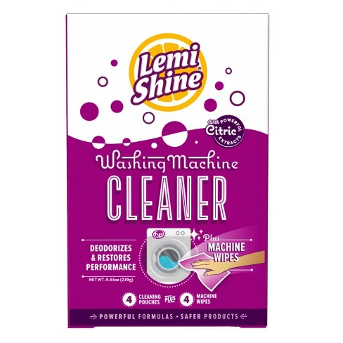 Lemi Shine Natural Citrus Extracts Washing Machine Cleaner Pouches - 4 Ct + 4 Machine Wipes : Target