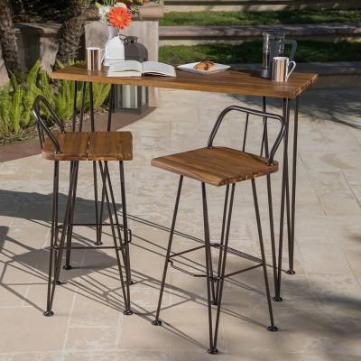 Denali 3pc Acacia Wood Industrial Patio Bar Set - Teak - Christopher Knight Home