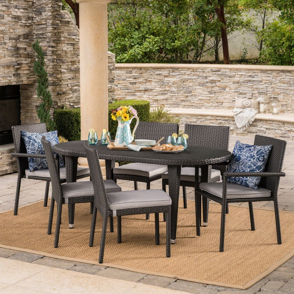 Logan 7pc Wicker Dining Set - Gray/Silver - Christopher Knight Home