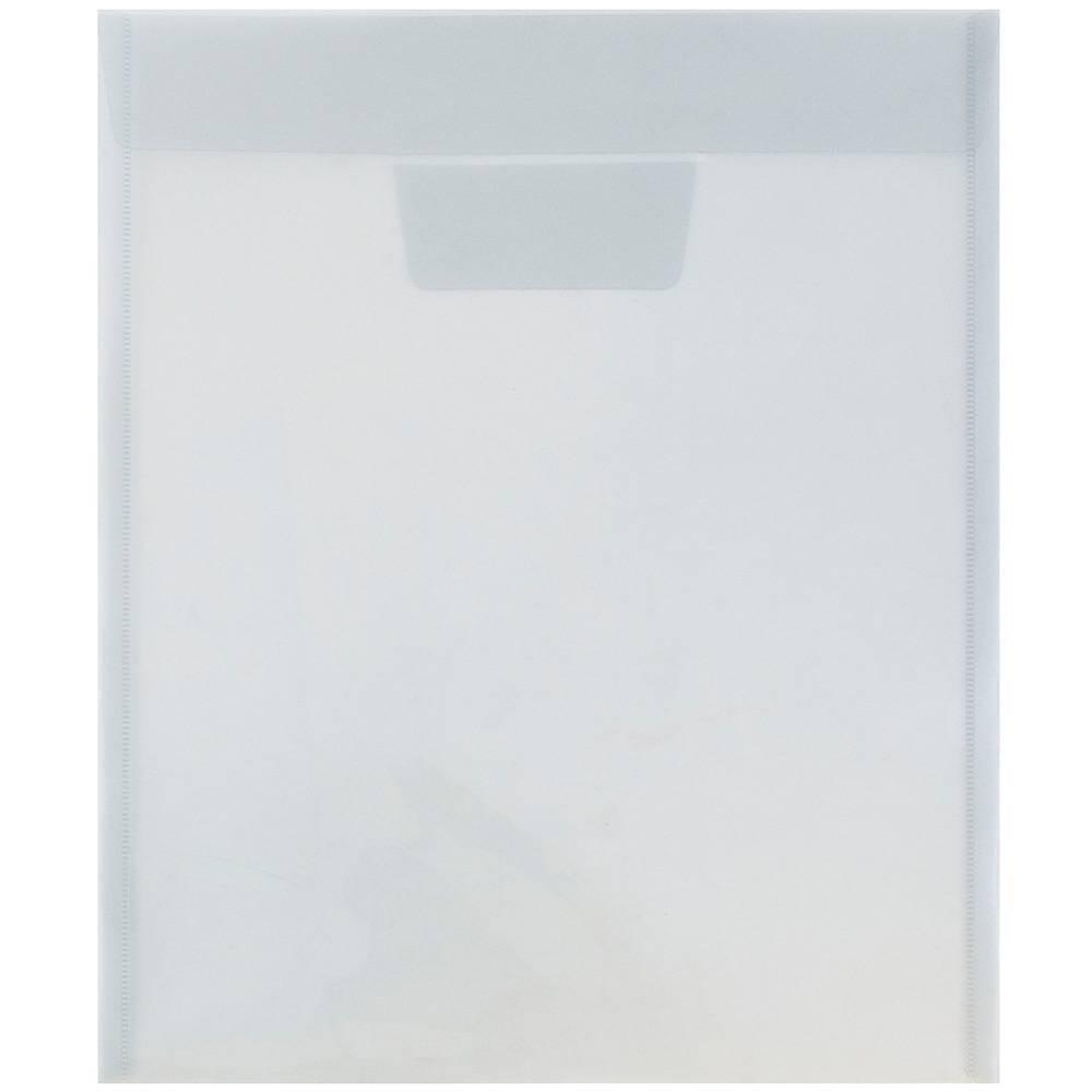 Jam Paper 9 7/8'' x 11 3/4'' 12pk Plastic Envelopes with Tuck Flap Closure, Letter Open End - Gray