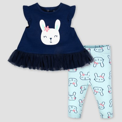 Gerber Baby Girls' 2pc Rabbit Tunic and Leggings Set - Blue/Green 3-6M