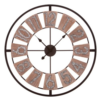 "30"" Galvanized Windmill Cut Out Wall Clock Wood/Metal - Patton Wall Decor"