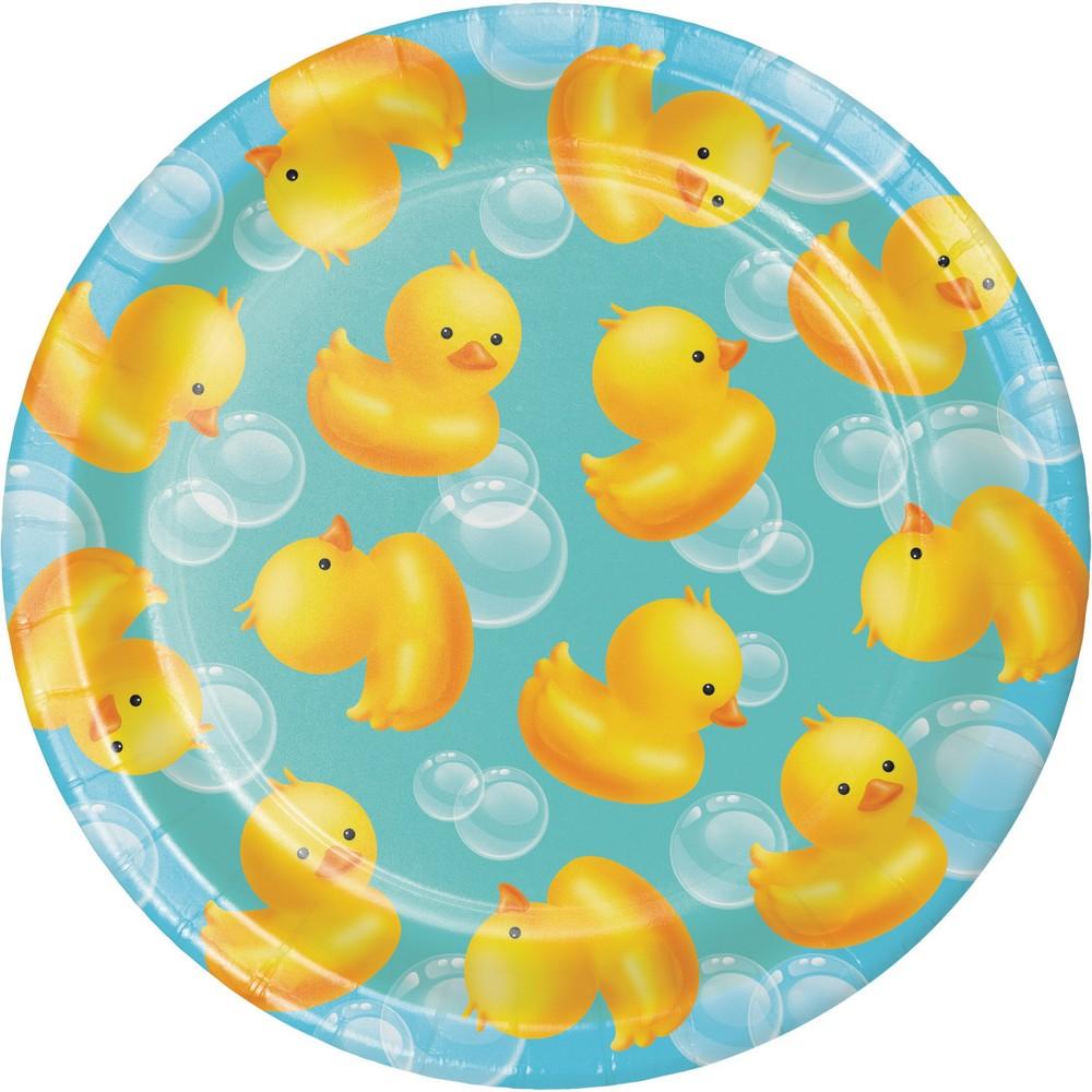 Image of 24ct Rubber Duck Bubble Bath Dessert Plates Yellow