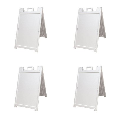 Plasticade 140NSBKBOXED Signicade Deluxe A-Frame Sidewalk Curb Sign Portable Folding Double-Sided Display with Quick-Change System, White (4 Pack)