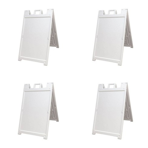 Plasticade 140NSBKBOXED Signicade Deluxe A-Frame Sidewalk Curb Sign Portable Folding Double-Sided Display with Quick-Change System, White (4 Pack) - image 1 of 3