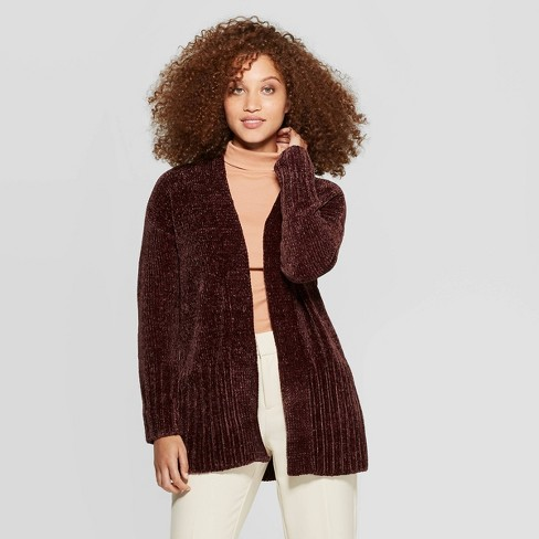 Women's Long Sleeve Rib-Knit Cuff Chenille Open Cardigan - A New Day™ - image 1 of 3