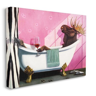 Stupell Industries Moose with Wine Bathroom Claw Tub Relaxation