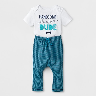 Baby Boys' Short Sleeve Bodysuit and Striped Pants Set - Cat & Jack™ White/Blue 0-3M