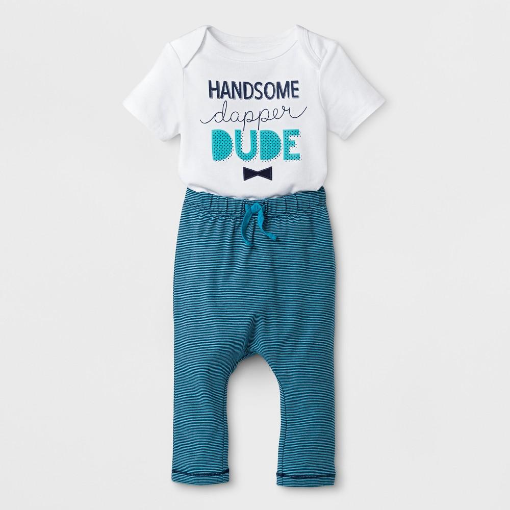 Baby Boys' Short Sleeve Bodysuit and Striped Pants Set - Cat & Jack White/Blue 3-6M