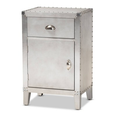 Romain Metal 1 Door Accent Storage Cabinet Silver - Baxton Studio
