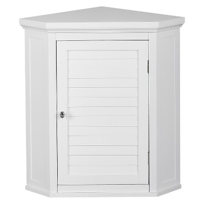 Slone White Shuttered Corner Cabinet - Elegant Home Fashion
