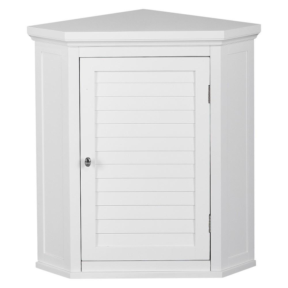 Elegant Home Fashion Slone White Shuttered Corner Cabinet