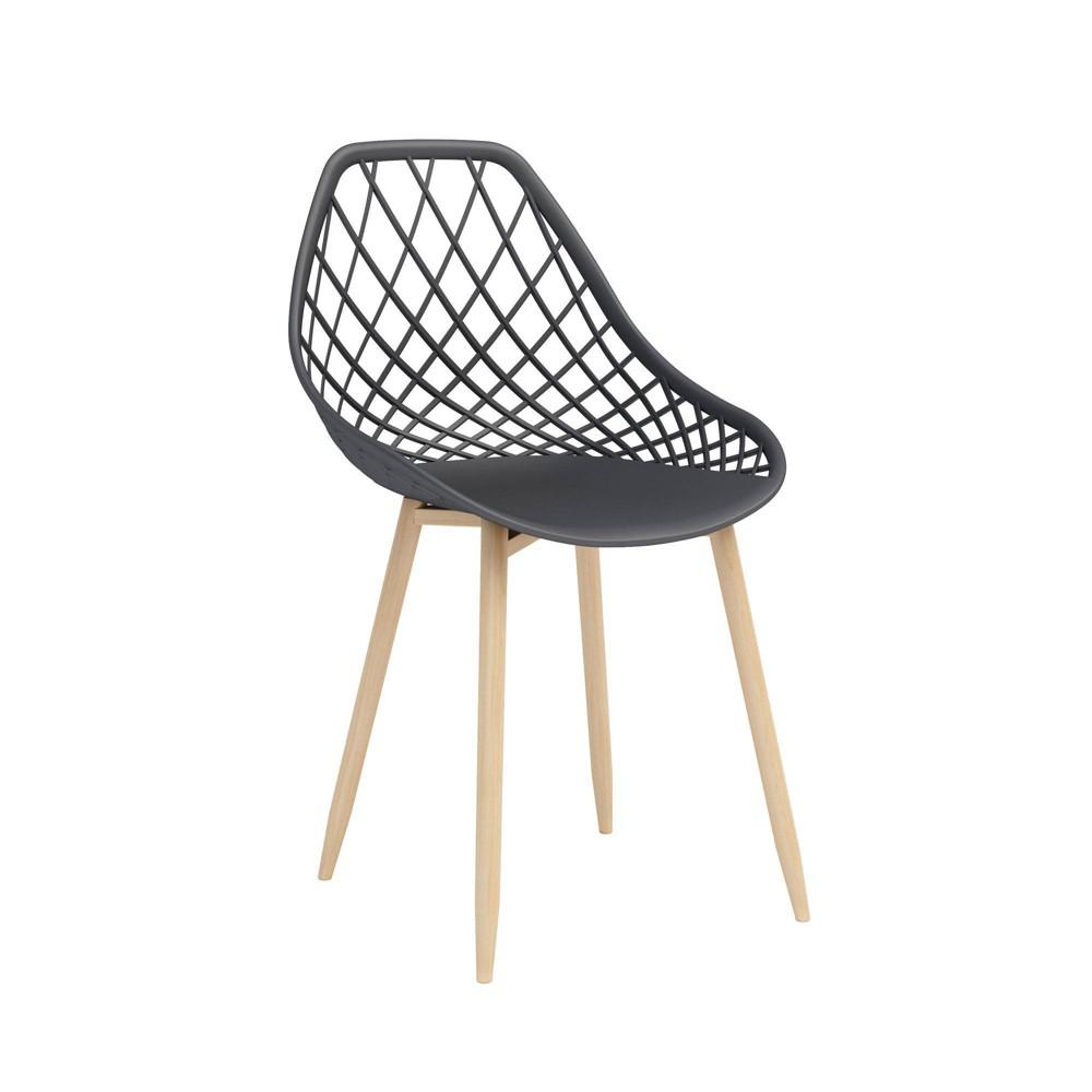Image of Set of 2 Kurv Dining Chair Black/Natural - Jamesdar