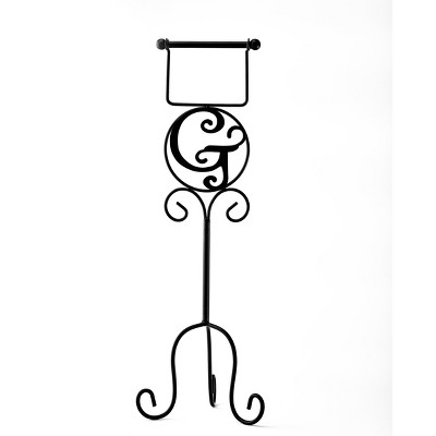 Lakeside Monogram Toilet Paper Holder with Vintage-Style, Metal Scroll Work