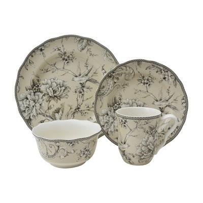 16pc Porcelain Adelaide Dinnerware Set White - 222 Fifth
