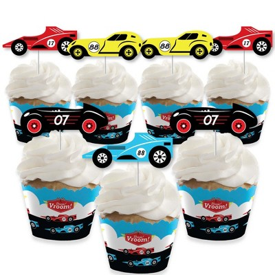 Big Dot of Happiness Let's Go Racing - Racecar - Cupcake Decoration - Birthday Party or Baby Shower Cupcake Wrappers and Treat Picks Kit - Set of 24