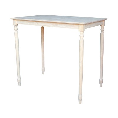 """30"""" X 48"""" Solid Wood Bar Height Table Unfinished - International Concepts"""