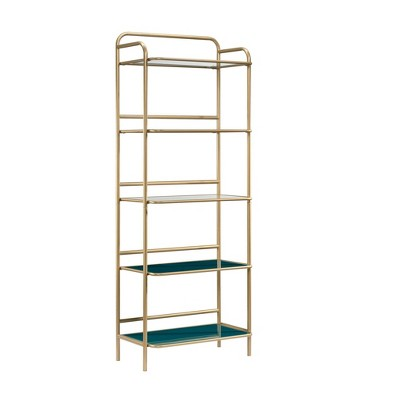 """63"""" Coral Cape Bookcase with Metal and Glass Satin Gold - Sauder"""