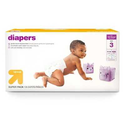 Diapers Super Pack Size 3 - 108ct - Up&Up™