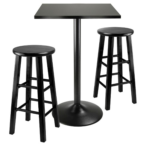 "3pc obsidian counter height pub set with 24"" counter stools wood/black- Winsome - image 1 of 2"