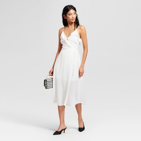 Women s Ruffle Neckline Midi Dress - NEEDLEWORK White   Target ec7a650440