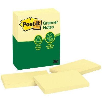 Post-it Recycled Paper Greener Notes, 3 x 5 Inches, Canary Yellow, Pad of 100 Sheets, pk of 12