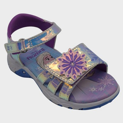 Toddler Girls' Frozen Two Strap Footbed Sandals - Purple