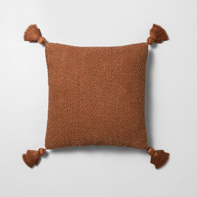 """18"""" x 18"""" Textured Cotton Flare Tassel Throw Pillow Rust - Hearth & Hand™ with Magnolia"""