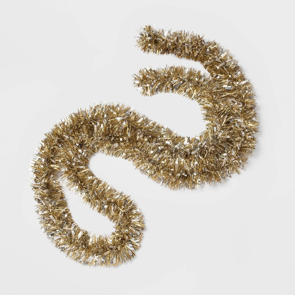Image of 10ft Tinsel Christmas Garland Gold and Silver - Wondershop , Gold Silver