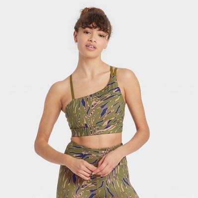 Women's Zebra Print Asymmetrical Strappy Bra with Removable Pads - JoyLab™ Army Green