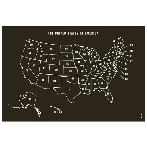 Us Map Chalkboard Peel Stick Wall Decal Black 1 Sheet Wallies