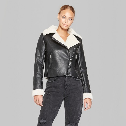 Women S Sherpa Lined Faux Leather Moto Jacket Wild Fable Target